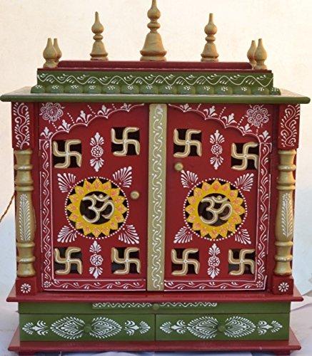 OM And Swastika Design Home Temple/ Pooja Mandir/ Wooden Temple/ Pooja  Mandap With
