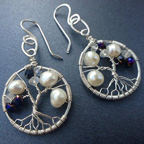 Tree-of-Life Earring Alexandrite Freshwater Pearl Moonstone Earrings 3rd Anniversary 30th Gift