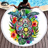 Turtle Life by Pixie Cold Art Tortoise Towel Colorful Bohemian Beach Blanket with Tassels Turtle Floral Beach Towel Summer Round Beach Throws