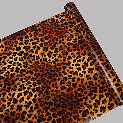 SimpleLife4U Sexy Leopard Print Self-Adhesive Shelf Drawer Liner Moisture Proof PVC Mat (Self Adhesive Print)