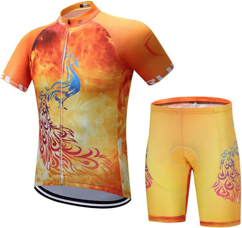 CNBPLS Traje de Jersey de Manga Corta Flamenco Amarillo de Verano para Hombres y Mujeres Traje de Montar en Bicicleta de montaña Transpirable Transpirable,01,L