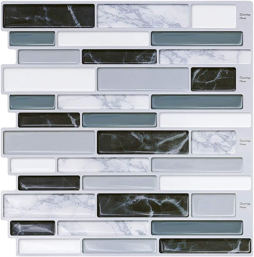 Peel and Stick Wall Tile for Kitchen Backsplash - Aahesive Tile Backsplash-Kitchen Backsplash Tiles Peel and Stick Wall Stickers 10'' x 10'' (6 Sheets)