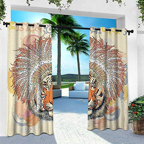 leinuoyi Tribal, Fashions Drape, African Safari Tiger Portrait with Native American Chef Feathers Bohemian Design, W84 x L84 Inch, Orange ()
