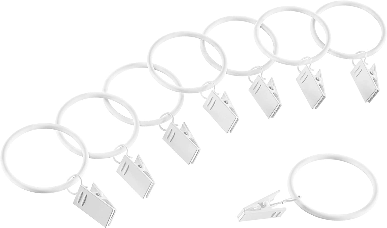 Lavish Home Curtain Rod Clip Rings, White