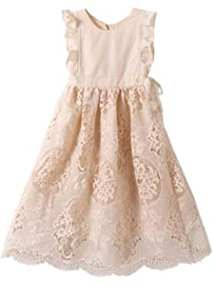 Bow Dream Off White Peach Vintage Lace Sleeveless Flower Girls Dress