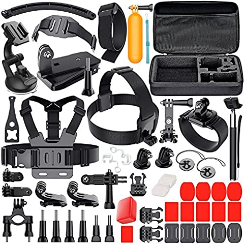 Leknes Camera Accessory Kit for GoPro Hero 5/Hero 5 Session/4/3+/3/2/1 SJ4000 SJ5000 SJ6000 DBPOWER AKASO Xiaomi Yi APEMAN WiMiUS Lightdow (Gopro Case And Accessories)