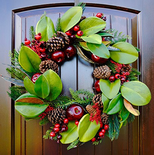 Rustic Christmas Wreath with Magnolia Leaves Pine Cones and Red Apples in 20-22