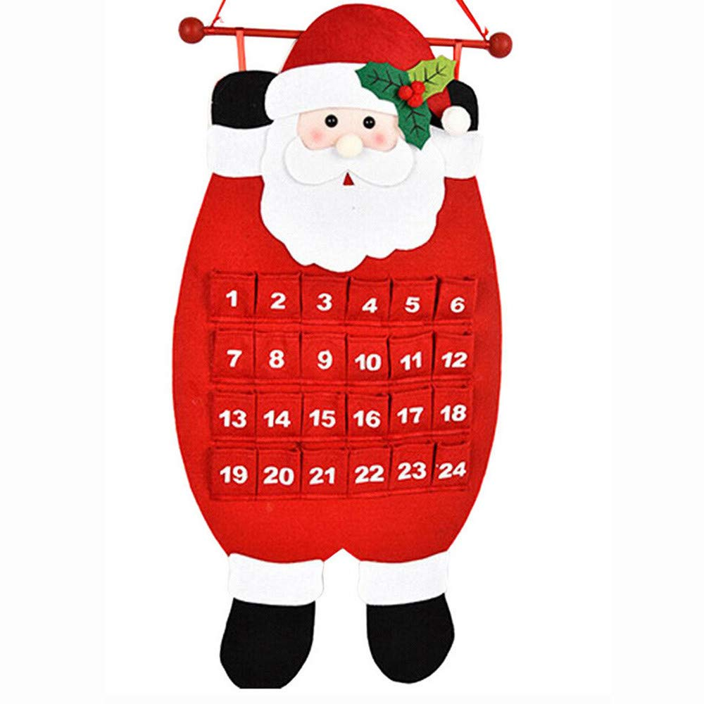 showsing-Home Christmas Advent Calendar, Santa Claus/Snowman/Reindeer Calendar Advent Countdown Calendar, Hanging Ornaments Christmas Decoration Add Your Own Gift (Orange) Home & Kitchen