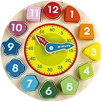 BEILALUNA Orologio Didattico Legno per Bambini Inglese - Giocattolo per Bambini con Blocchi di Ordinamento di Numeri e Forme, Incredibili Giochi Giocattolo in Legno per Ragazze e Ragazzi T004