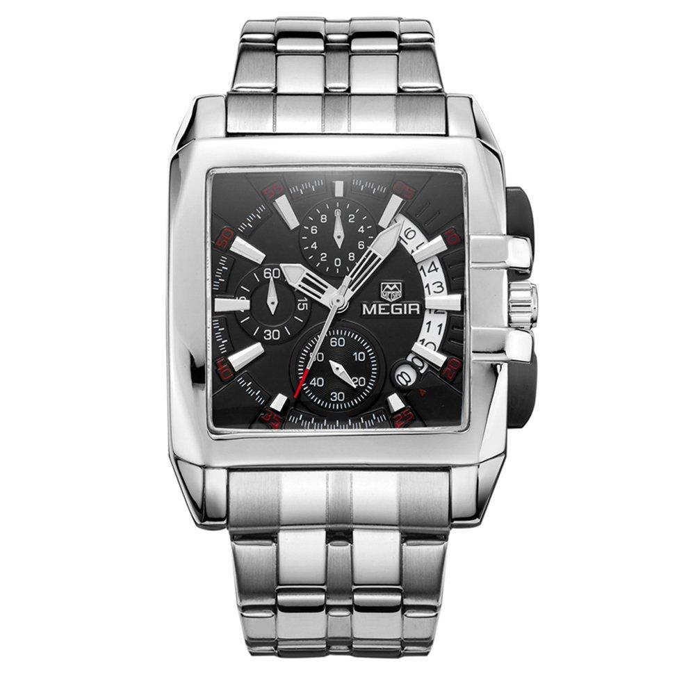 Realke Women's Luxury Steel Band Movement Quartz Analog Calendar Chronograph Waterproof Wrist Watch (Black)