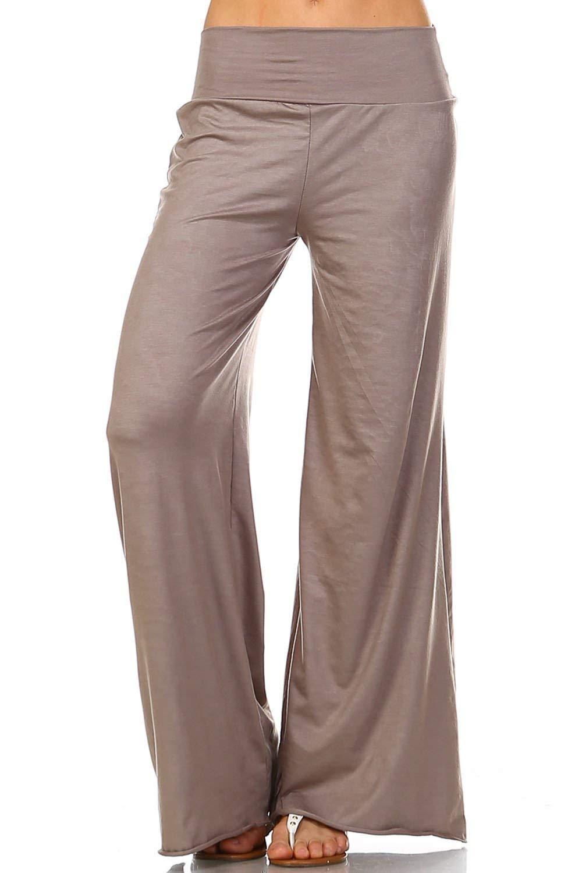 Simplicitie Women's Casual Wide Leg High Waist Bohemian Palazzo Pants - Regular and Plus Size - Mocha - Made in USA