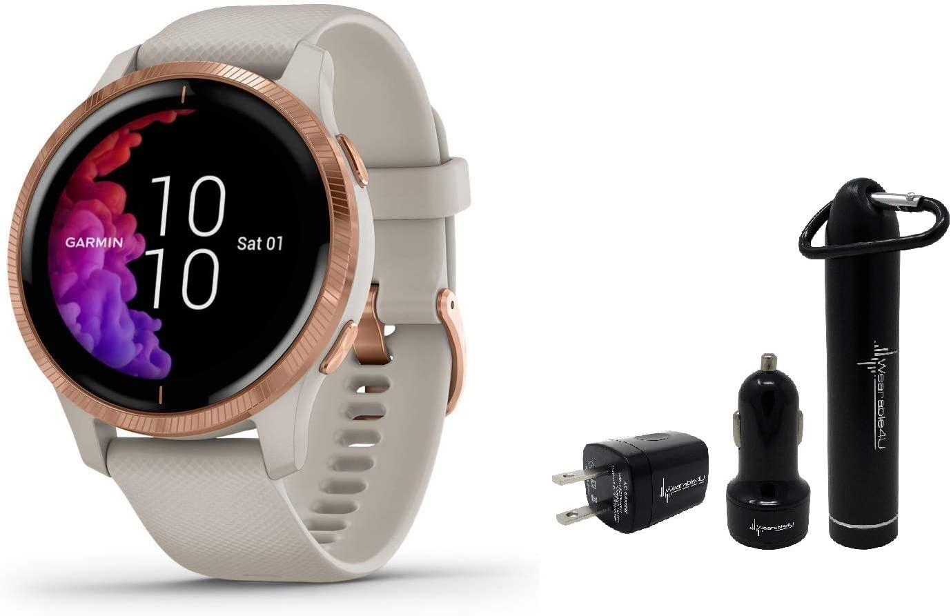 Garmin Venu GPS Smartwatch with AMOLED Display and Wearable4U Power Pack Bundle Light Sand Rose Gold