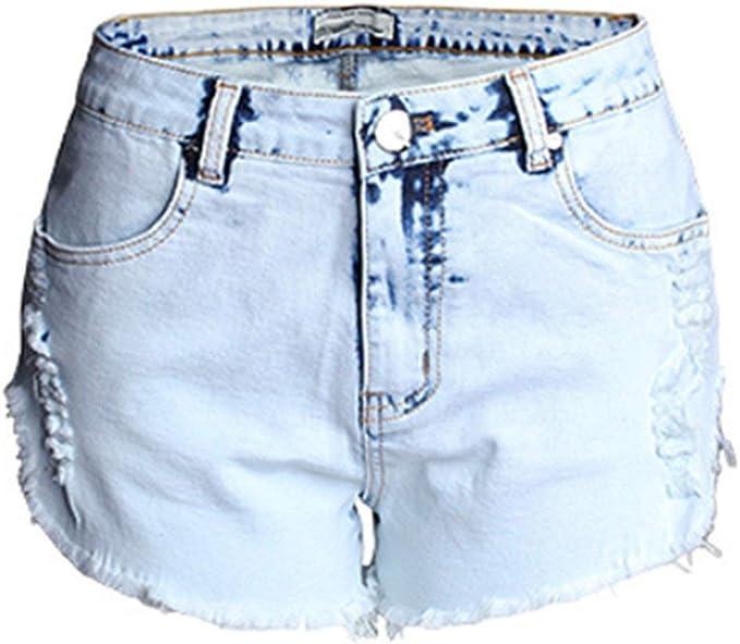 Femmes Vintage déchiré pour femme taille haute délavé Shorts Denim Jeans Hot Pants