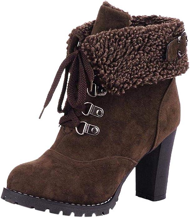 BaZhaHei-Zapatillas, Personalidad de Botas Cortas con Cordones y Botas Altas para Mujer Zapatos con Cordones Botines de Ocio Botas de tacón Alto Corto Tubo ...