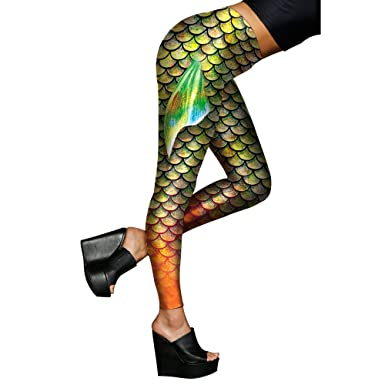 37237d64252 Alaroo Women Mermaid Leggings with Fish Scale   Fin Print Pants Light Green  S