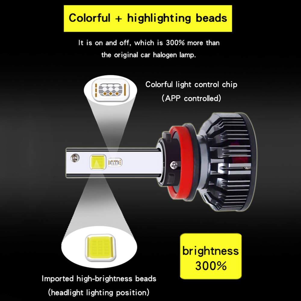 H4 H7 H19005 9006 880 881 Intelligent Bunte Sprachsteuerung Lampe Nebelscheinwerfer drahtlose Bluetooth APP Steuerung,H1 RGB Auto-Scheinwerfer-Scheinwerfer