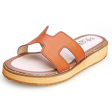 Frauen Damen Slide Sandalen Sommer Flats Mode Dicken Boden Strand Pantoffeln Weiß AQijJh