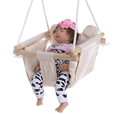 Midress Canvas Hanging Swing Seat Indoor and Outdoor Baby Child Toddler Swing Seat with Seat Cushion Backyard Home Hammock Toy Swing Set (Beige): Garden & Outdoor