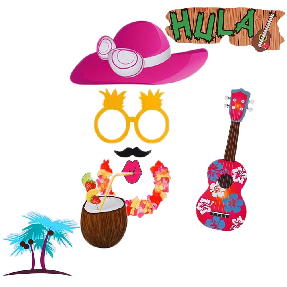 Hawaiian Photo Booth Props for Holiday, Wedding, Fun Party Decorations - 43 Count