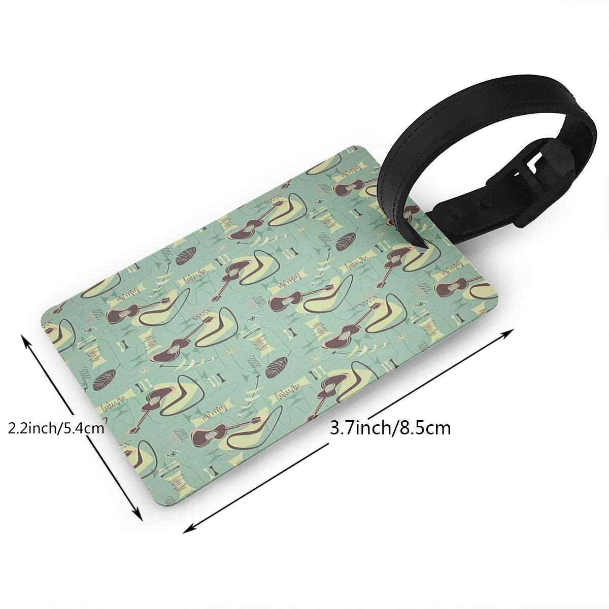 2 Pack Luggage Tags Ukulele Pattern Travel Tags For Travel Bag Suitcase Accessories