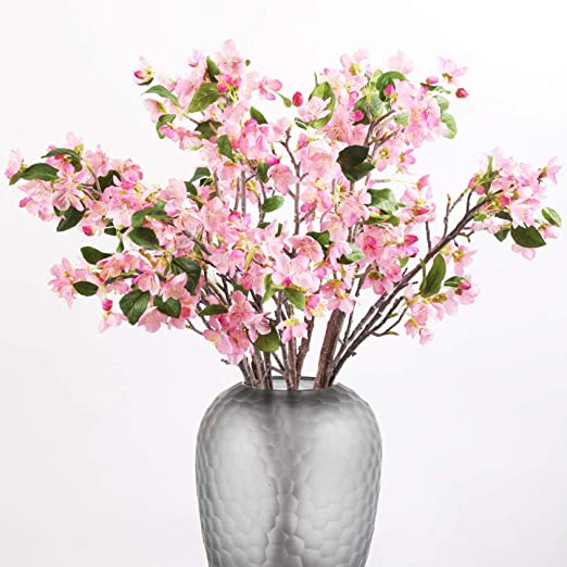 Amazon Com Artificial Flowers Christmas Flowers Artificial Pear Flower Faux Flower Arrangement For Centerpiece Home Office Wedding Diy Decoration 5 Sticks Pink Home Kitchen