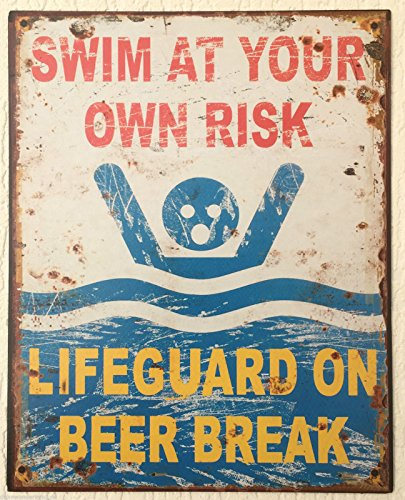 Blechschild Dekoschild Schild Swim at your own Risk Schwimmen Retro 25x20 cm