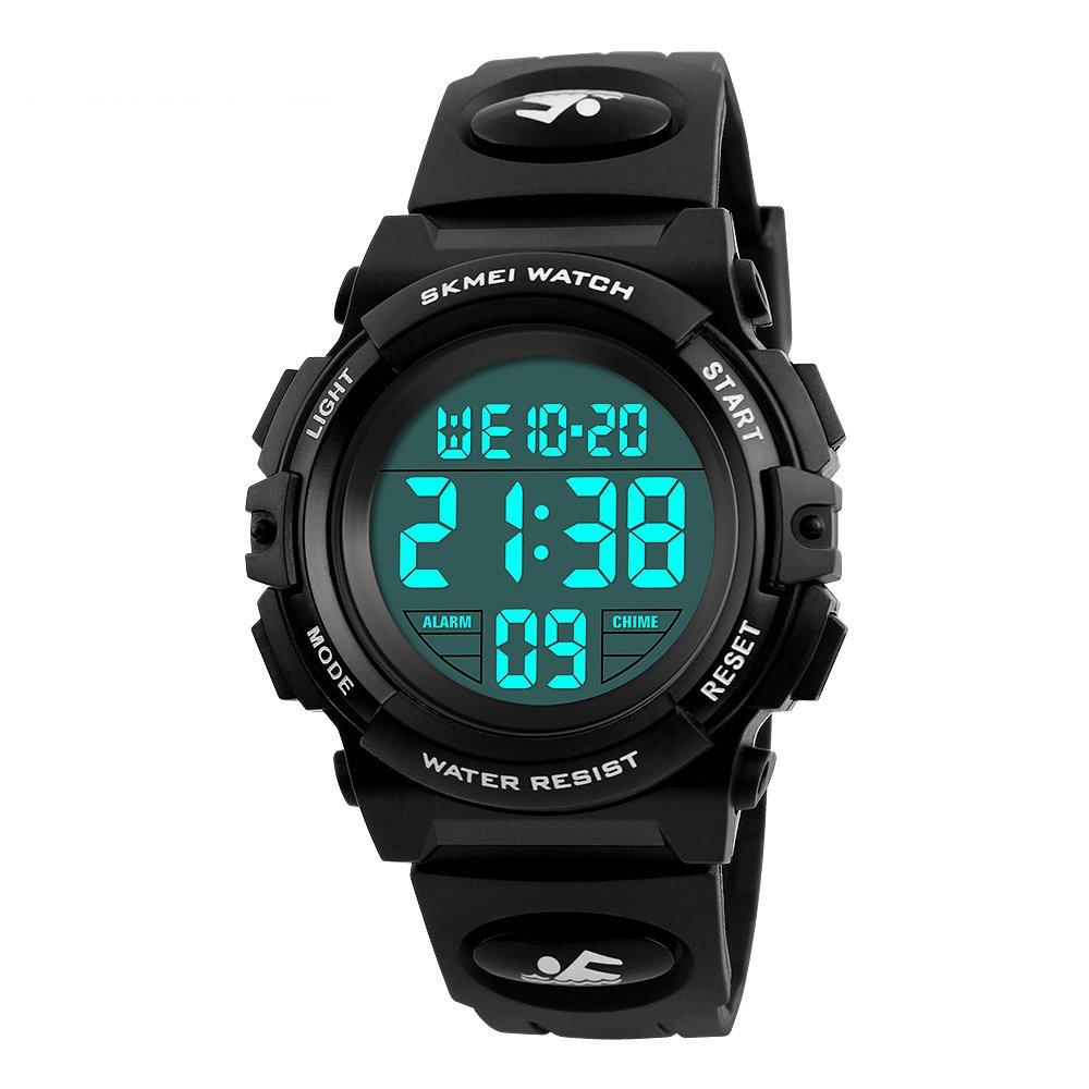 Boys Waterproof Outdoor Sports Watches,Skmei Electronic LED Digital Multifunction Girls Kids Wrist Watch,W/ Alarm Back Light (black)