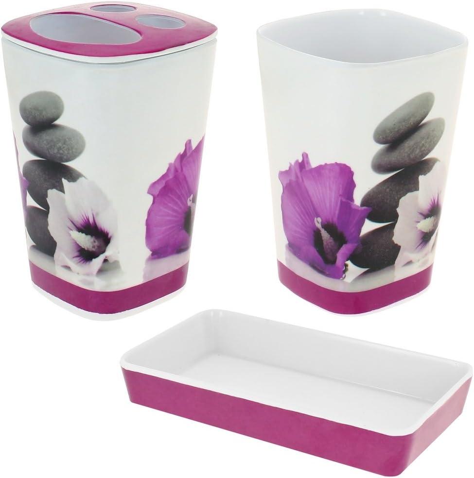 Promobo -Set Zen 19 Accessoires de Salle De Bain Galets Fleur Rose