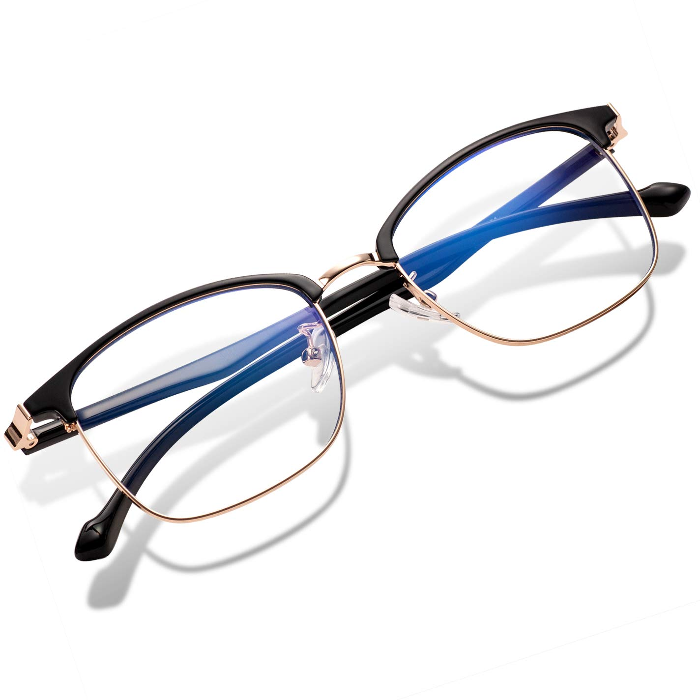 Blue Light Blocking Glasses Women Men Computer Glasses Feirdio Blue Light Glasses 52010 (Bright Black Gold)