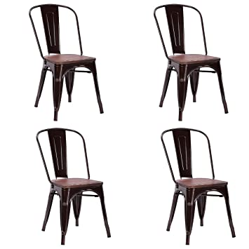 Costway Tolix Style Dining Chairs Industrial Metal Stackable Cafe Side Chair  W/ Wood Seat Set