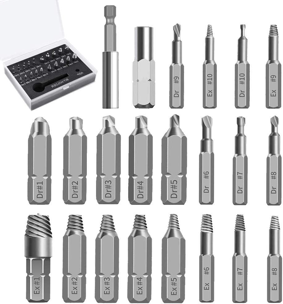 Juego de extractores de tornillos de Fordspang, 22 unidades, con brocas separadas y extractores separados, para tornillos dañados, 2 – 12 mm