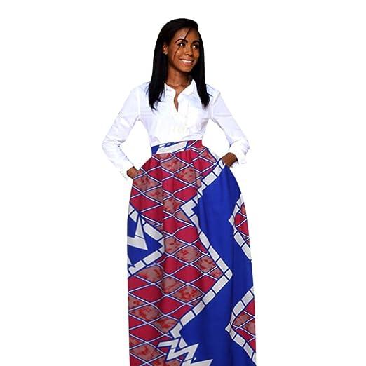 8bda832a096 HGWXX7 Women s African Style Skirt Dashiki Print Summer Chiffon High Waist  Party Boho Maxi Long Big