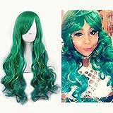 Netgo Womens Green Wig Long Curly Hair Heat Resistant Fiber Wigs Harajuku Lolita Style for Cosplay