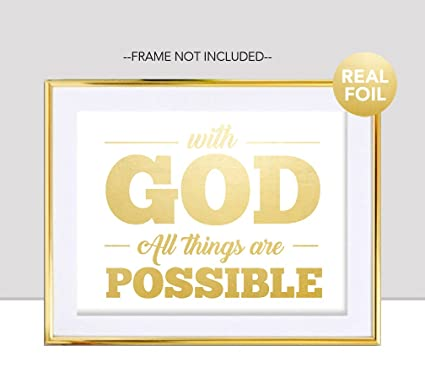 Amazon.com: With God All Things Are Possible Gold Foil Print Jesus ...