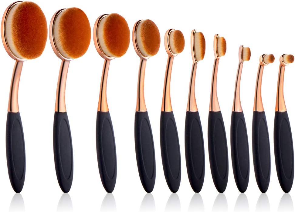 UNIMEIX 10 Pack Crafting Ink Blending Brushes Set Background Brush for Blender Paper Crafter Rose Gold