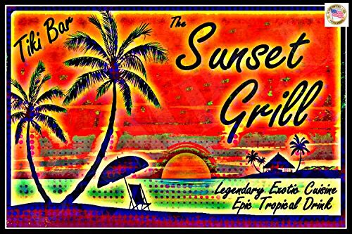 Tiki Bar Sunset Grill Sign 8''x12'' Made In Hawaii USA All Weather Metal. Lounge Welcome Pool Hot Tub Happy Hour Island Décor Margaritaville by Alotaloha!