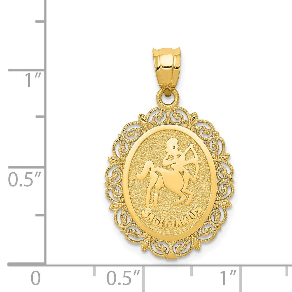 14k Yellow Gold Solid Satin Polished Sagittarius Zodiac Oval Pendant