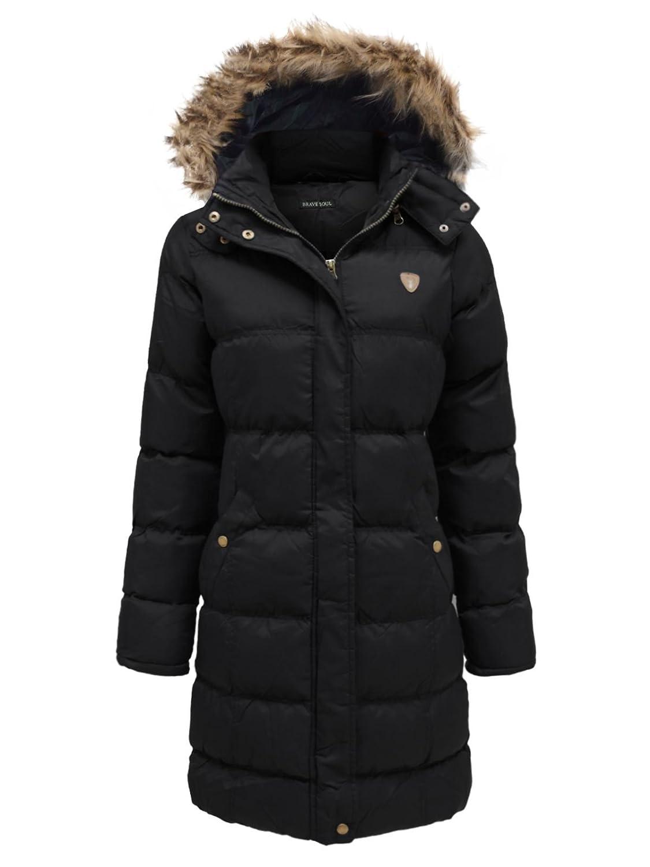 Brave Soul Coat Sherpa Parka Jacket  Padded Hooded Fur Lined Winter Size 8 Black