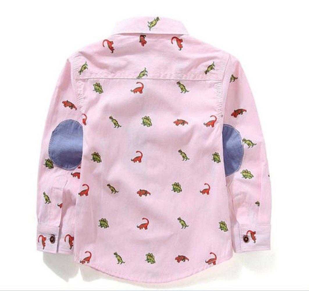 eKooBee Boys Dragon Animal Button Down Shirts Top Blouse