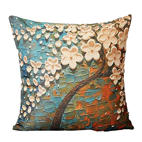 Yihaojia Throw Pillowcases ,Big Tree Oil Painting Printed Linen Square Cushion Cover for Home Decor 18