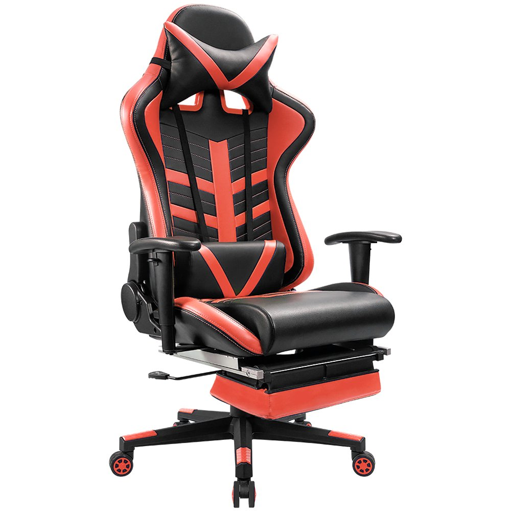 Homall Gaming Chair Ergonomic High-Back Racing Chair Premium PU Leather Bucket Seat,Computer Swivel Lumbar Support Executive Office Chair With Footrest (Red) by Homall