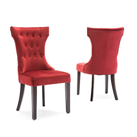 Belleze Set of 2pc, Premium Dining Chairs Side Armless w Wooden Legs, Red