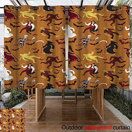 RenteriaDecor Outdoor Curtains for Patio Sheer Halloween Seamless Background with Cartoon Monsters W108 x L72