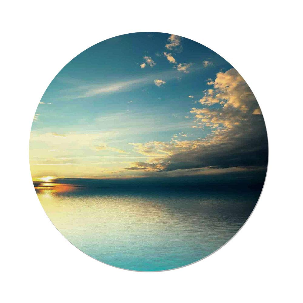 Polyester Round Tablecloth,Ocean Decor,Panorama Sea Sunset Sundown Reflection Horizon Dark Clouds Nature Picture Print,Teal Aqua Blue,Dining Room Kitchen Picnic Table Cloth Cover Outdoor Indoo