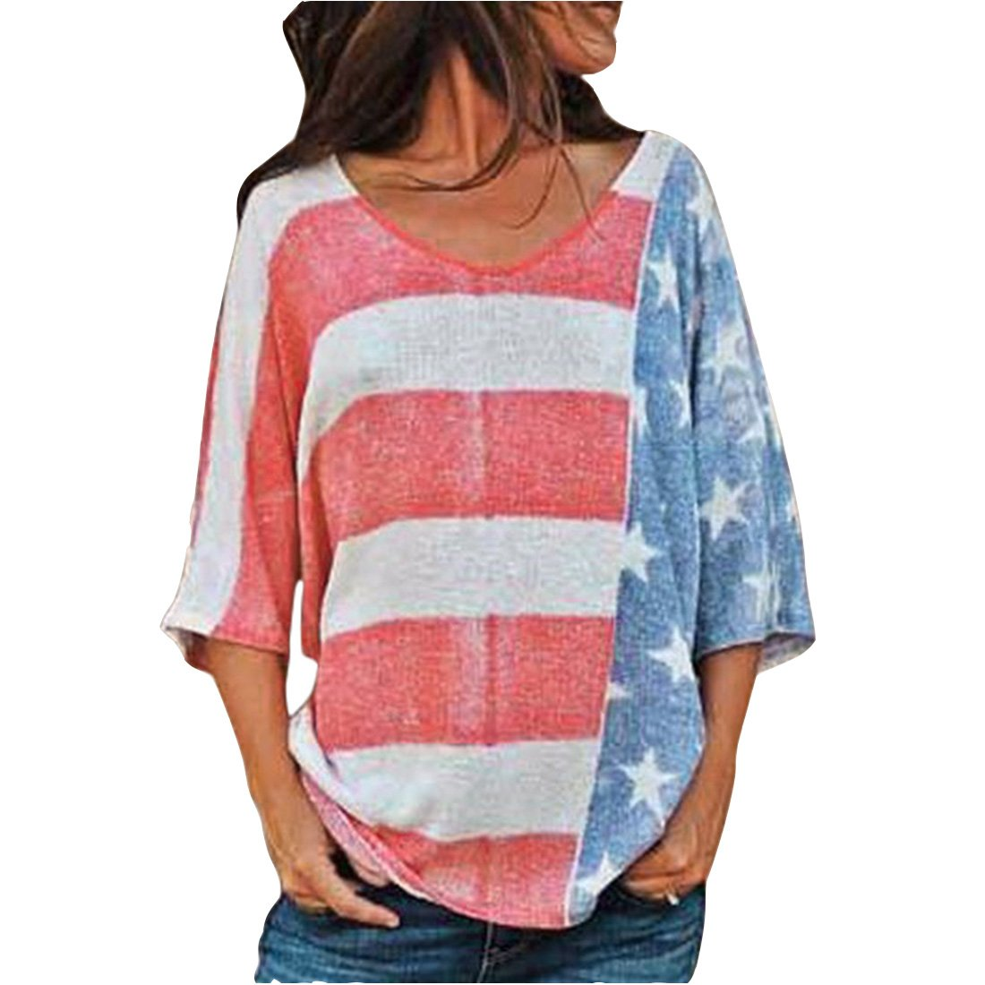 FEIYOUNG Women's 3/4 Sleeve Loose Casual USA Flag Star Printed Summer Cotton Shirts