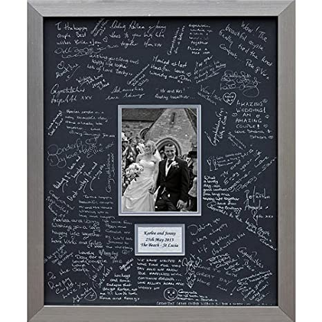Personalised Wedding Guest Book Frame – SILVER - Contemporary alternative to the traditional guest book (Black-Silver-Landscape) The Framing Warehouse FRAM15