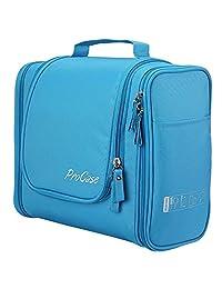 ProCase - Bolsa de aseo grande con gancho para colgar, organizador para accesorios de viaje, maquillaje, champú, cosméticos, artículos personales, almacenamiento de baño con colgantes, Azul