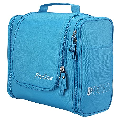 ProCase Toiletry Bag with Hanging Hook, Organizer for Travel Accessories, Makeup, Shampoo, Cosmetic, Personal Items, Bathroom Storage with Hanging, Large, Blue