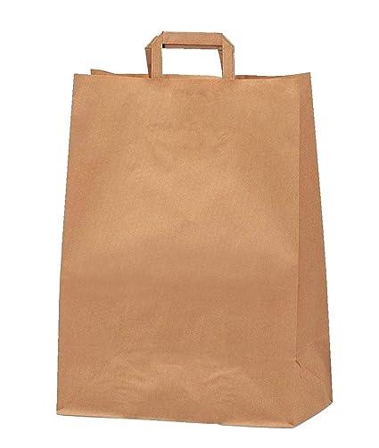Yearol K09 25 Bolsas papel kraft pequeñas con asa. 24 * 8 * 18 Especial para regalos, eventos, cumpleaños, comercio, compra, venta, embalaje, ...