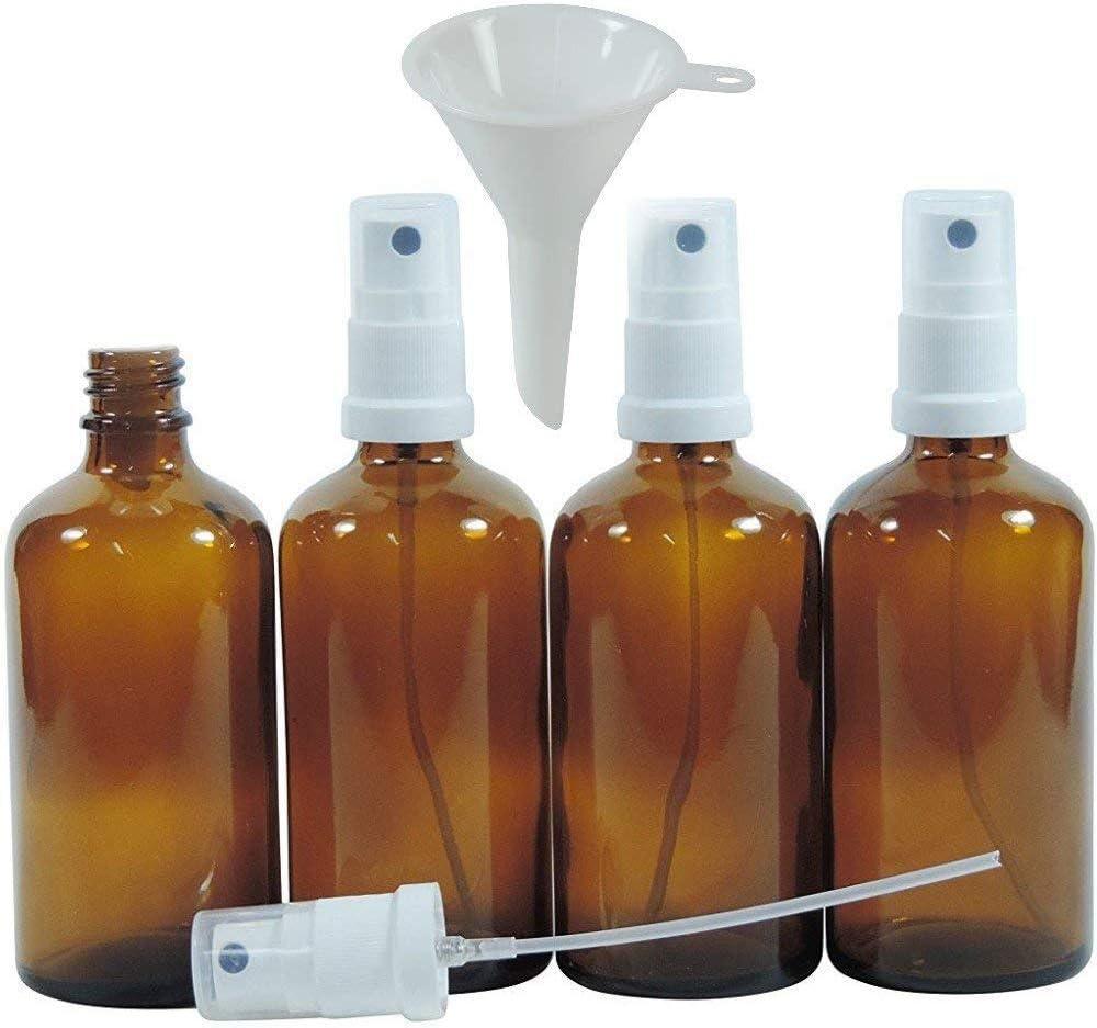 Viva Haushaltswaren – 4 x farmacia de pulverizador 100 ml de color marrón cristal, botellas de cristal pequeñas (con atomizador, efecto – Fabricado en Alemania & sin BPA (Incluye Embudo de 5 cm de